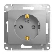 Механизм розетки Schneider Electric Glossa GSL000345 одноместный с заземлением и защитными шторками алюминий