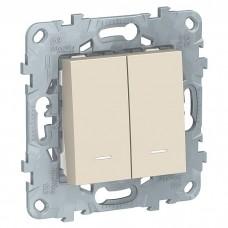 Механизм выключателя Schneider Electric Unica New NU521144N двухклавишный с индикатором бежевый