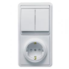 Блок розетки с выключателем Кунцево-Электро Бэлла БКВР-034 двухклавишный белый