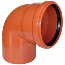 Отвод канализационный ПВХ 110 мм 90 градусов рыжий