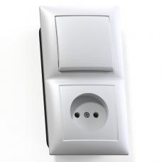 Блок розетки с выключателем Кунцево-Электро Селена БКВР-408 одноклавишный белый