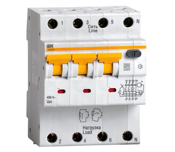 Автоматический выключатель дифференциального тока IEK АВДТ 34 C25 30мА
