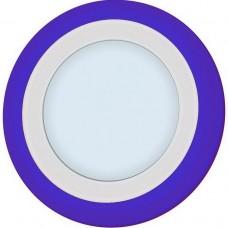 Светильник светодиодный встраиваемый Italmac Piatto LED R 12+6 6000K Blue с синей подсветкой 18 Вт