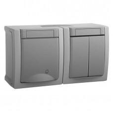 Блок Panasonic Pacific WPTC48032GR-RES выключатель двухклавишный и розетка серый