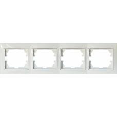 Рамка для розеток/выключателей 4 гнезда С/У. белый