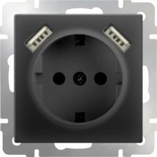 Werkel WL08-SKGS-USBx2-IP20 одноместный с USBх2 с заземлением и защитными шторкам черный