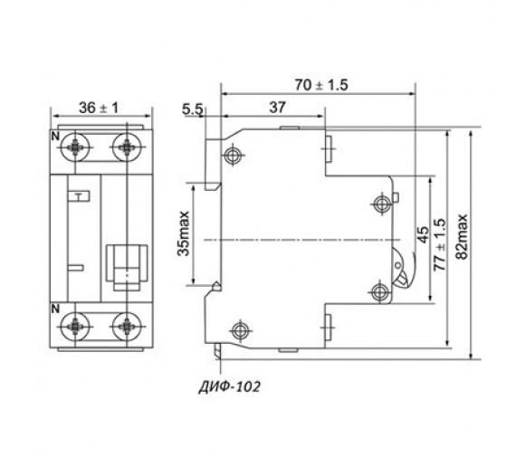 Автоматический выключатель дифференциального тока DEKraft ДИФ-102 (1P+N) C 16А 30мА тип AC 4.5кА