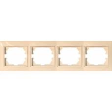 Рамка для розеток/выключателей 4 гнезда С/У. бежевый