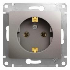 Механизм розетки Schneider Electric Glossa GSL001243 одноместный с заземлением платина
