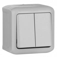 Выключатель Legrand Quteo 782332 двухклавишный серый