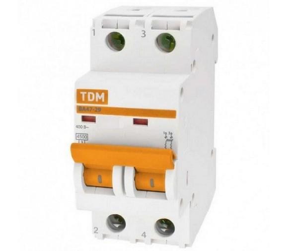 Автоматический выключатель TDM ВА47-29 SQ0206-0095 С 2P 25 A