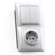 Блок розетки с выключателем Кунцево-Электро Селена БКВР-412 двухклавишный белый