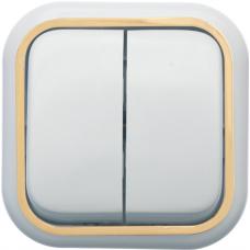Выключатель Кунцево-Электро Валентина А56-025(З) двухклавишный белый с золотом
