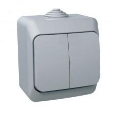 Выключатель Schneider Electric Этюд BA10-042C IP44 двухклавишный серый