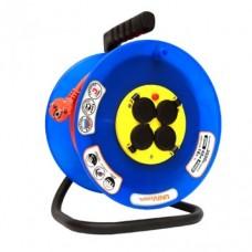 Удлинитель на катушке Universal 9634209 ВЕМ-250 50 м с термовыключателем 4 розетки с защитными крышками ПВС 3х2,5 IP44