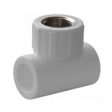 Тройник комбинированный PPR Политэк 20 мм 1/2 дюйма с внутренней резьбой белый