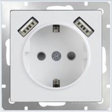 Механизм розетки Werkel WL01-SKGS-USBx2-IP20 одноместный с USBх2 с заземлением и защитными шторкам белый
