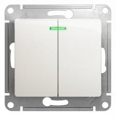 Механизм выключателя Schneider Electric Glossa GSL000653 двухклавишный с индикатором перламутр