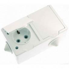 Розетка Кунцево-Электро РА16-759 IP44 двухместная с заземлением белая