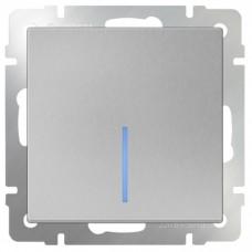 Механизм выключателя Werkel WL06-SW-1G-LED одноклавишный с индикатором серебряный