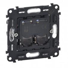 Механизм компьютерной розетки Legrand Valena In'matic 753070 RJ45 двухместный черный