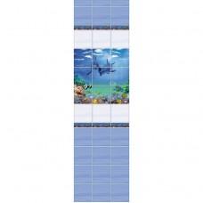 Стеновая панель ПВХ Novita фриз 3D Афалины узор 2700x250 мм