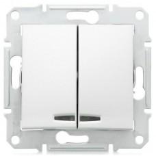 Механизм выключателя Schneider Electric Sedna SDN0300321 двухклавишный с индикатором белый