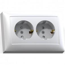 Розетка Кунцево-Электро Селена РС16-401М двухместная с заземлением и защитными шторками белая
