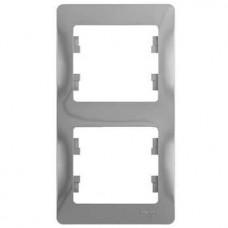 Рамка двухместная Schneider Electric Glossa GSL000306 алюминий