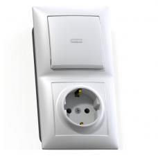 Блок розетки с выключателем Кунцево-Электро Селена БКВР-420 одноклавишный белый