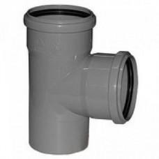 Тройник канализационный ПВХ Хемкор 3.2 Ду 110х110х110 мм 87 градусов с кольцом серый