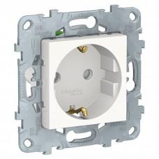Механизм розетки Schneider Electric Unica New NU505718 одноместный с заземлением и защитными шторками белый