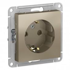 Механизм розетки Schneider Electric AtlasDesign ATN000545 одноместный с заземлением и защитными шторками шампань
