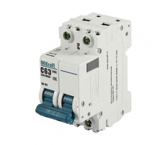 Автоматический выключатель DEKraft ВА-101 2п C 63А 4.5кА