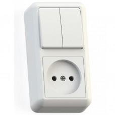 Блок розетки с выключателем Кунцево-Электро Оптима БКВР-404 двухклавишный белый