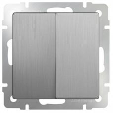 Механизм выключателя Werkel WL09-SW-2G двухклавишный серебряный рифленый