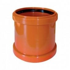 Муфта соединительная ПВХ 160 мм равнопроходная рыжая