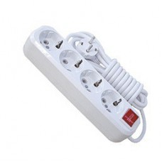 Удлинитель бытовой T.plast 32.75.411.0402 2 м 4 розетки с заземлением и выключателем с подсветкой ПВС 3х1 IP20