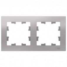 Рамка двухместная Schneider Electric AtlasDesign ATN000302 алюминий