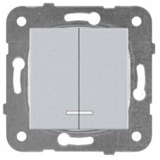 Механизм выключателя Panasonic Karre Plus WKTT00102SL-RES двухклавишный с подсветкой серебро