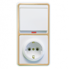 Блок розетки с выключателем Кунцево-Электро Бэлла БКВР-056 одноклавишный белый с золотом
