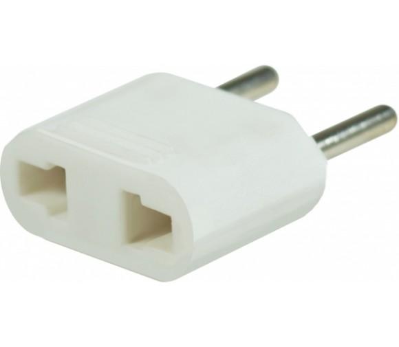 Адаптер-переходник электрический (без заземления) плоский 10А белый