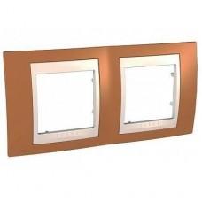Рамка двухместная Schneider Electric Unica MGU6.004.569 хамелеон оранжевая/бежевая