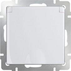 Механизм розетки Werkel WL01-SKGSC-01-IP44 одноместный с заземлением и защитными шторками с крышкой белый