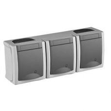 Блок Panasonic Pacific WPTC48402GR-RES розетка трехместная с заземлением серый