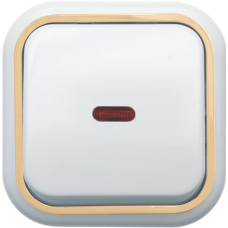 Выключатель Кунцево-Электро Валентина А16-054(З) одноклавишный с подсветкой белый с золотом