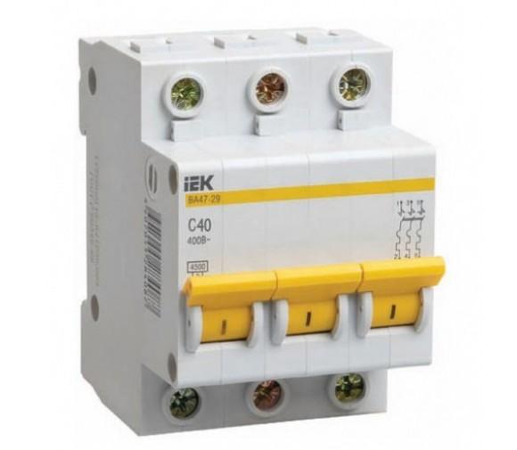 Автоматический выключатель IEK ВА47-29 3Р 50А C