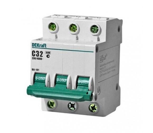 Автоматический выключатель DEKraft ВА-101 3п C 32А 4.5кА