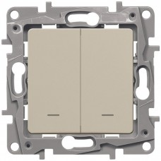 Механизм выключателя Legrand Etika 672304 двухклавишный с индикатором Слоновая кость