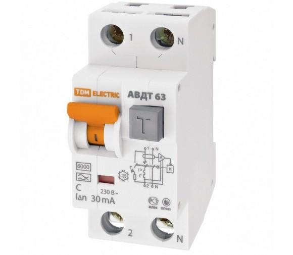 Автоматический выключатель дифференциального тока TDM АВДТ 63 SQ0202-0003 C20 30 мА